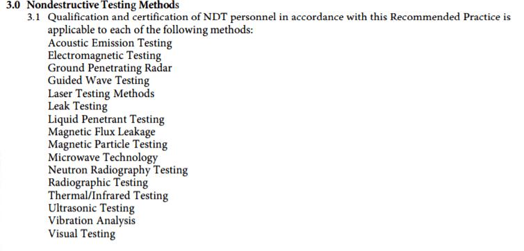 List of ND T methods